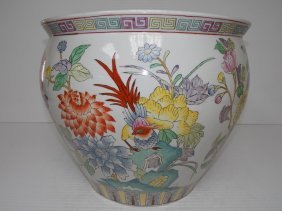 Huge Decorative Chinese Porcelain Fish Bowl Flower Pot
