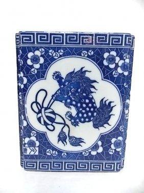 Antique Blue & White Chinese Foo Dog Incense Burner