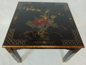 Hand Painted Chinese Black Lacquered Side Table