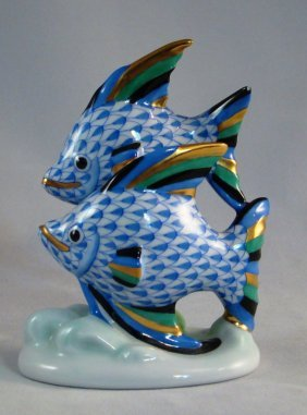 Herend, Pair Of Fish, Multicolor Fishnet