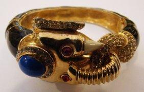 Ciner Signed Vintage Elephant Enamel Bracelet