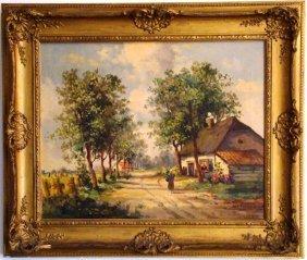 "Leaterman, Dutch Scene, Oil On Canvas, 22"" X 26"""