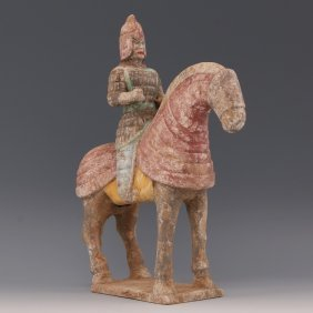 A Chinese Tang Tri-colors Porcelain Horse And Warror