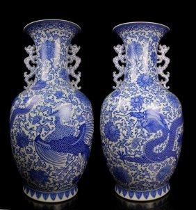 A Pair Huge Chinese Qing Enamel Porcelain Vases