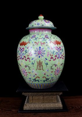 A Fine Antique Chinese Qing Green Ground Famille Rose B