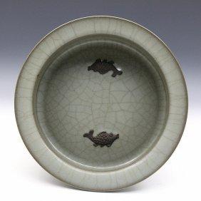 A Chinese Song Guan Kiln Celadon Porcelain Washer