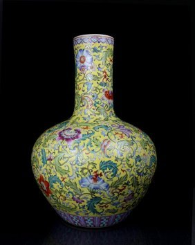 A Large Unique Chinese Qing Enamel Porcelain Vase