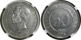 Sarawak, 1906h, Silver 50c, Kn12. Ngc Au-details, Mount