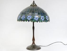 Leaded Stained Glass Shade & Handel Bronze Lamp Base