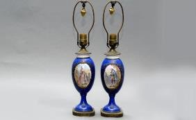 Pair Of Antique Hand Painted Sevres Style Lamps