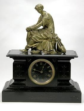 Fr 19th C Bronze And Marble Figural Mantle Clock