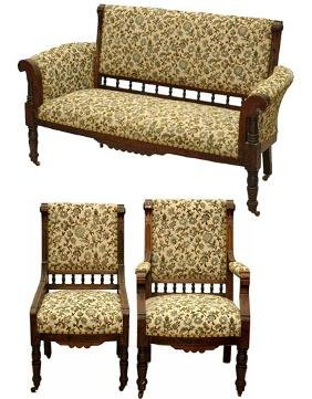 Three Piece Walnut Eastlake Parlor Set