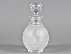 "LALIQUE FROSTED CRYSTAL ""LANGEAIS"" DECANTER"