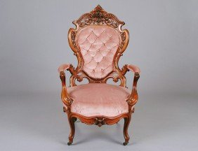 VICTORIAN LAMINATED ROSEWOOD ARM CHAIR