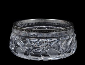 CONTINENTAL SILVER MOUNTED GLASS BOWL