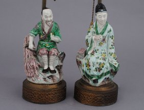 TWO FAMILLE VERTE PORCELAIN FIGURES