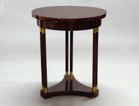 BIEDERMEIER MAHOGANY VENEERED CIRCULAR SIDE TABLE