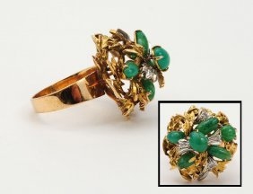 FOURTEEN KARAT GOLD, EMERALD AND DIAMOND RING