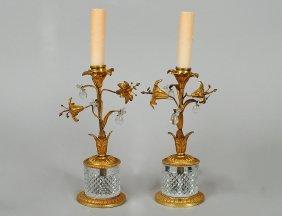 PAIR OF GILT BRASS AND CUT GLASS BOUDOIR LAMPS