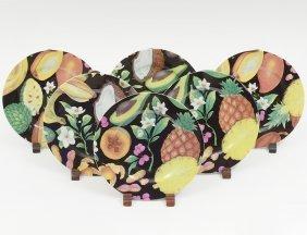 Set Of Six Limoges Porcelain Fruit Plates