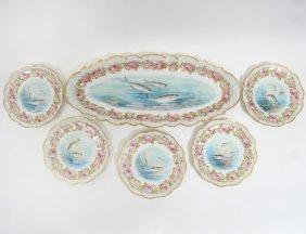 Thirteen Piece Limoges Porcelain Fish Service