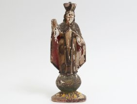 Carved And Polychromed Figure Of Mary