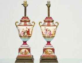 Pair Of Vienna Porcelain Urns