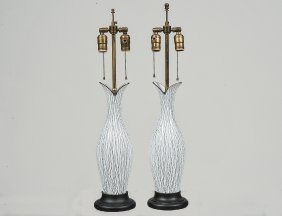 Pair Of Murano White Sgrafitto Glass Lamps