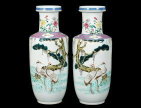 Good Pair Of Famille Verte Porcelain Vases