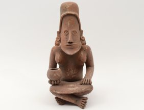 Pre-columbian Style Pottery Seated Figure