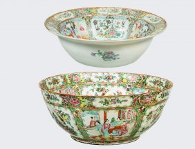Two Rose Medallion Porcelain Punch Bowls