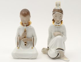 Pair Of Royal Copenhagen Porcelain Figures