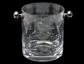 Christofle Silver Plated And Crystal Ice Bucket