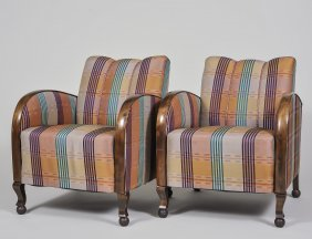 Pair Of Art Deco Walnut Armchairs