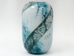 Legras Green Swirl Glass Vase