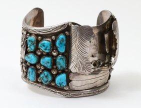Native Amer Sterling Silver Ruby Cleveland Cuff Watch