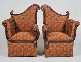 Pair Of Art Deco Mahogany Armchairs