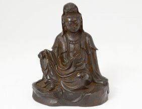 Silver Inlaid Patinated Bronze Figure Of Guanyin