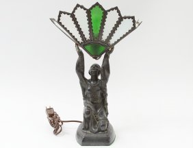 Art Deco Patinated Metal And Glass Figural Lamp