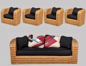 Five Piece Karl Springer Suite Of Wicker Furniture