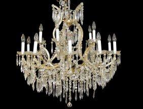 Maria Theresa Style Fifteen Light Glass Chandelier