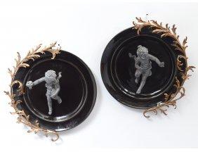 Pair Of Enameled Metal Figural Wall Plates