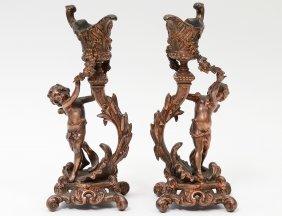 Pair Of Brass Figural Candlesticks