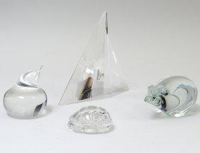 Four Steuben Crystal Ornamentals