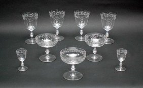 Nine Blown Glass Stems With Crown Over N & Etched