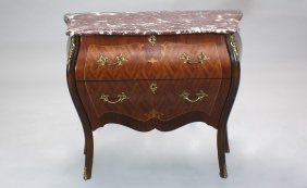 French Bombe Front Two Drawer Marble Top Chest