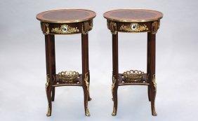 Pair Mahogany Circular Top End Tables