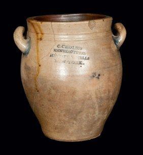C. Crolius / Manhattan-Wells / New-York Stoneware Jar W