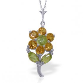14k White Gold Flower Necklace With Citrines & Peridots