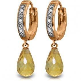 14k Rose Gold Tres Chic Blue Citrine Diamond Earrings